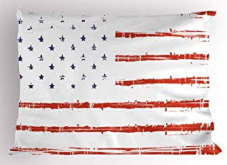 Ambesonne American Pillow Sham, Vector Grunge Texture Flag of United States of America Illustration, Decorative Standard Size Printed Pillowcase, 26