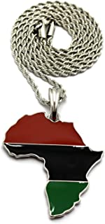 Pan African Colored Africa Map Pendant 24