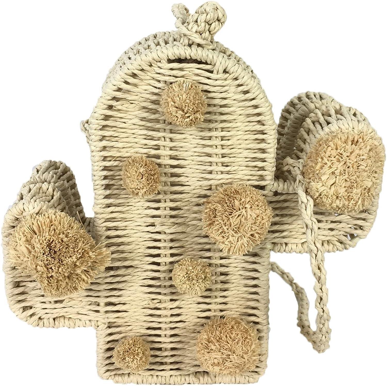 bluee Island Piku Woven Straw Cactus Pom Pom Bag, Natural
