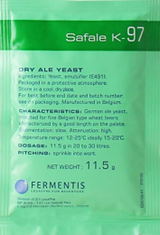 煙突牛肉面倒Fermentis : Safale K-97ビール酵母ドイツ製エール11.5g 20-30L用。