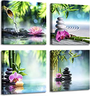 Yang Hong Yu - Canvas Prints Stones Flowers and Bamboo on Water SPA Theme Warm-Toned Photo on Canvas Wall Art Framed Modern Decor Paintings Giclee Artwork for Home Decoration 12x12inch