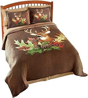 Collections Etc Northwoods Deer Fleece Bedroom Coverlet, Animal, Full/Queen