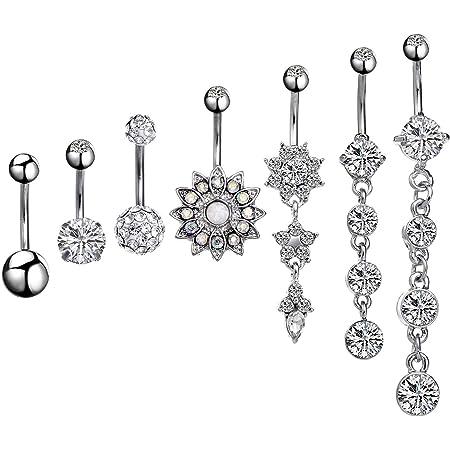 5 Stücke Edelstahl Bauchnabel Ringe Kristall Blume Dreamcatcher Nabel
