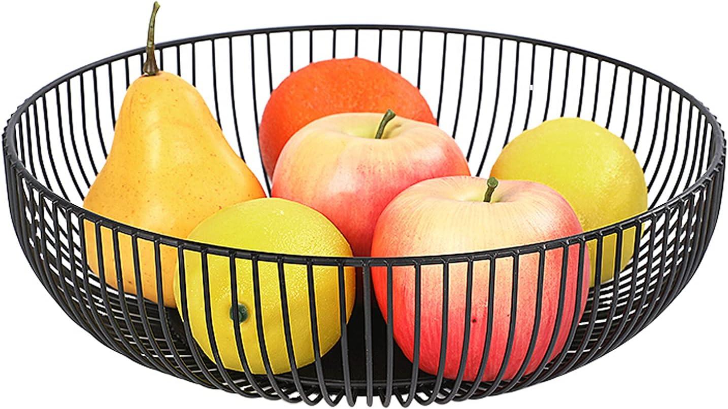 Frutero de metal Grande Frutero Metalico Cesta de Fruta Moderno Cesta de Frutas Negro Cuencos de Fruta de Alambre Negro Diseño Redondead para Guardar Frutas y Pan