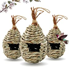 Gute Humming Bird Houses for Outside Hanging, Natural Grass Hanging Bird Hut, Hand Woven Hummingbird Nest, Large Wren Finc...