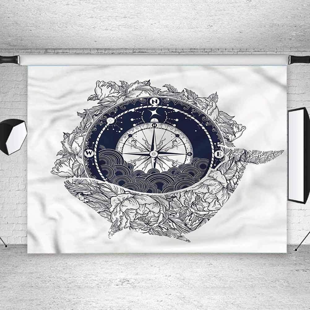 8x8FT Vinyl Wall Photography Backdrop,Nautical,Antique Compass Whale Photo Backdrop Baby Newborn Photo Studio Props