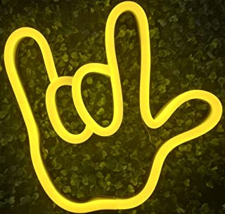 I Love You Gesture Finger& Palm LED Neon Sign Wall Decor Night Lights for Bedroom,Living Room, Christmas,Party as Kids Gift (Yellow, Love Gesture)