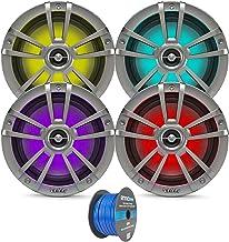 "$222 » Titanium OEM Replacement Infinity 6.5"" 225 Watt Waterproof Coaxial Boat Outdoor Powersports Marine Speakers w/Color Changing RGB LED Lights Lighting Bundle - 4 Speakers"