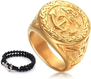 Gungneer Goldtone Anchor Navy Ring Stainless Steel Eagle Pattern Millitary Jewelry Power Gift Accessory for Mens Womens