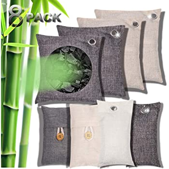 Charcoal Air Purifying Bag Natural Activated Bamboo Charcoal Eco Friendly and Moisture Absorber for Car Closet Shoe Home Basement 8 PACKS