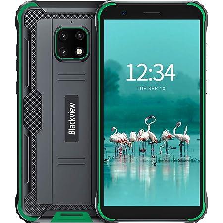 Blackview BV4900 Pro スマートフォン防水アウトドア 4G SIMフリー スマホ本体 防水 防塵 耐衝撃 4GB RAM 64GB ROM 5MP+13MP防水カメラ Android 10 IP68 5580mAh大容量バッテリー 5.7インチ 顔認証 携帯電話 デュアルSIM(Nano) 防災用品 (グリーン)