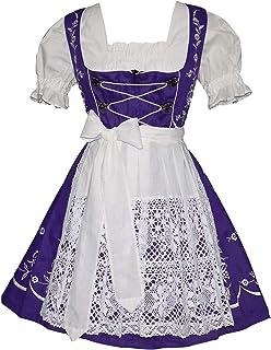 3-Pcs Short Women`s Dirndl German Waitress Embroidered Oktoberfest Purple Dress