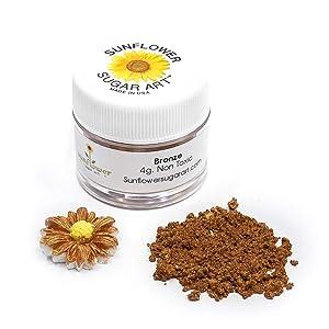 Bronze Edible Luster Dust   Approved Paint, Powder & Dust   Food Grade Luster Dust for Decorating, Fondant, Baking   Polvo Oro Matizador   Cakes, Vegan Paint & Dust   Sunflower Sugar Art