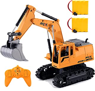 RC Excavator Truck Toy for Boys Toddlers,1/24 Scales Kids Remote Control Excavator Construction Vehicles Tractor, 2 Rechargeable Car Batteries Digger for 5-8 Year Old Christmas Birthday Gifts Ideas