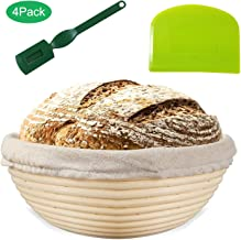 "Bread Proofing Basket 8"" | Natural Elasticated Linen Banneton Liner | Ergonomical Designed Dough Scraper | Handwoven Rattan Cane Bread Maker for Artisan Breads"