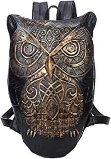 3D Owl Backpack Personalized Shoulder Messenger Bag Backpack 1,Gold