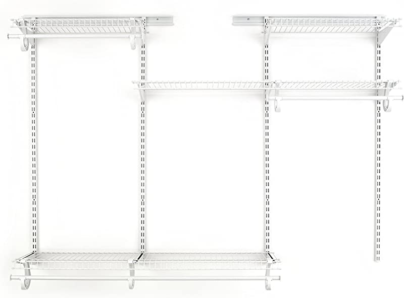 ClosetMaid 8808 ShelfTrack Adjustable Closet Organizer Kit White 4 To 6