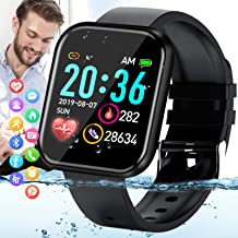 Amokeoo Smart Watch,Fitness Watch Activity Tracker with Heart Rate Blood Pressure Monitor IP67 Waterproof Bluetooth Android Smartwatch Touch Screen Sports Watch for Android iOS Phones Men Women Black