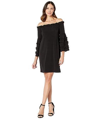 Scully Little Black Dress w/ Ruffle Detail Sleeve (Black) Women