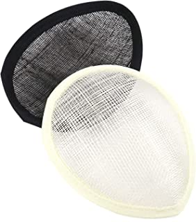 2 Pcs Oval Teardrop Fascinator Base, Sinamay Hostesses Fascinator Hat Base Millinery Making Craft Material (Black & Ivory)