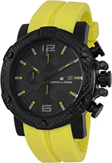 Herzog & Söhne Men' Quartz Watch with Black Dial Chronograph Display and Yellow Silicone Strap HS201-620