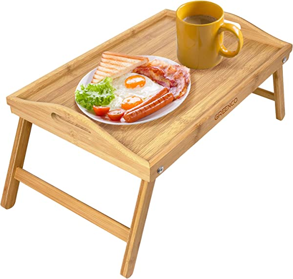 Greenco Foldable Bamboo Breakfast Table Serving Tray Labtop Desk Bed Table