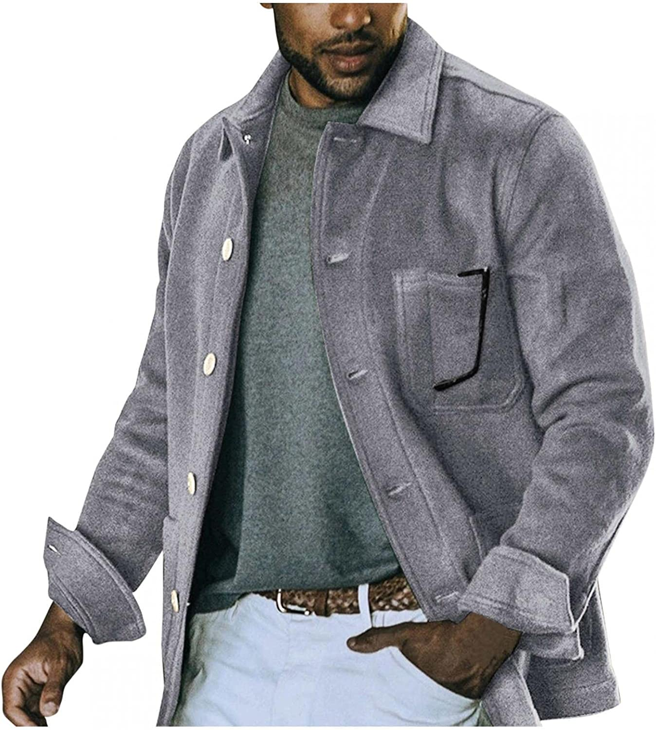 Mens Casual Jackets Single Breasted Button Down Military Peacoats Heavyweight Wool Blend Thermal Tops Outwear