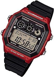 ساعة يد لكلا الجنسين من كاسيو ، رقمي ، مطاطي ، اسود ، AE-1300WH-4AV