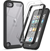 iPod Touch 7 Case, iPod Touch 6/5 Case with Tempered Glass Screen Protector [2 Pack], LeYi Full-Body Armor Hybrid Rugged Protective Clear Bumper Phone Case for Apple iPod Touch 7th/6th/5th Gen Black