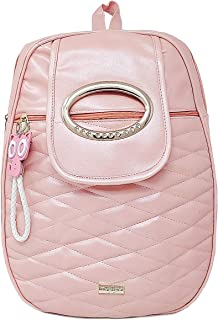 TYPIFY Leatherette Pink Kitty Keychain Stylish Women And Girls Backpack College Office Casual Bag. Gift for Her
