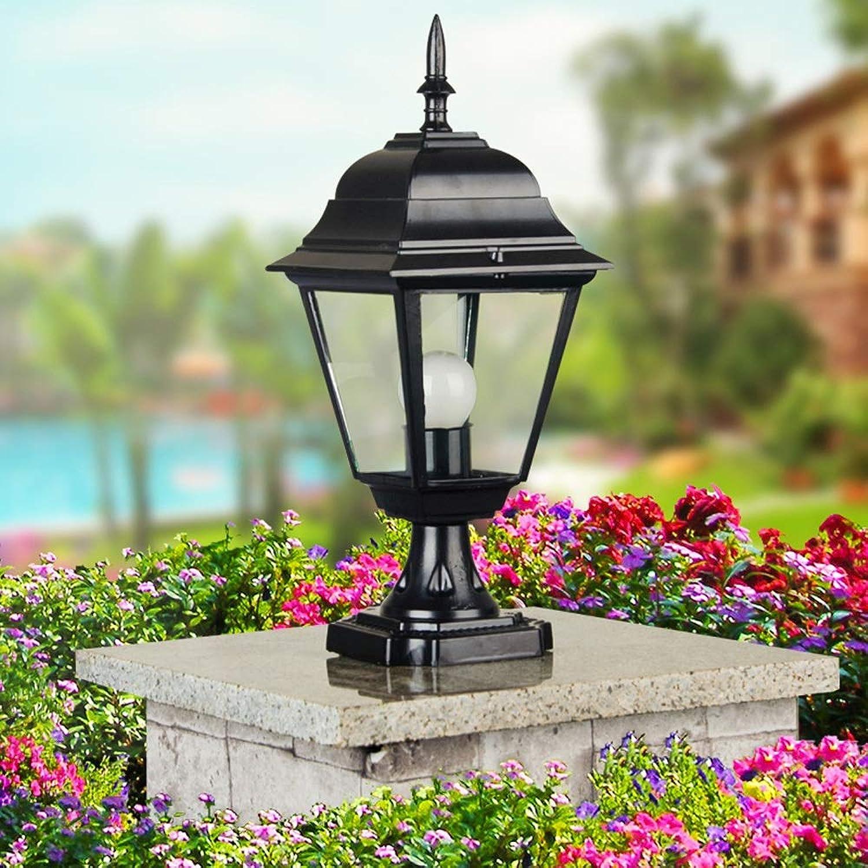 HDMY Vintage Antike Spalte Lampe Im Freien Wasserdichte Europische Stil Tor Sule Licht Platz Terrasse Wandleuchte Post Lampe (Farbe   schwarz)