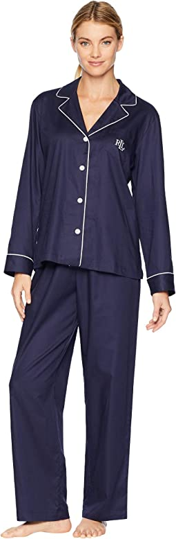 Cotton Dobby Notch Collar Pajama Set