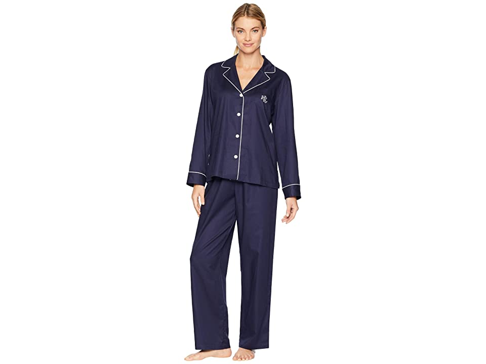 LAUREN Ralph Lauren Cotton Dobby Notch Collar Pajama Set (Navy) Women