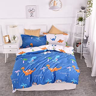 Chesterch Prevoster Kids Duvet Cover Set 100% Organic Cotton,Cartoon Dinosaur Blue Cute Bedding Boys Reversible Comfortable,3 Pieces Comforter Cover and 2 Pillowcases,Full Queen Size