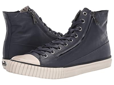 John Varvatos Vulcanized Coated Linen Double Zip Mid (Navy) Men