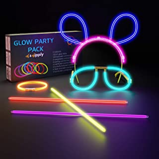 SWIPPLY Glow In The Dark Sticks Party Supplies Set 100 Stiks 7 Colors with 124 Connectors Fun Magic Toys Cool Bracelet Nec...