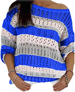 OTW Womens Stylish Round Neck Knitwear Hollow Out Pullover Tops Sweater