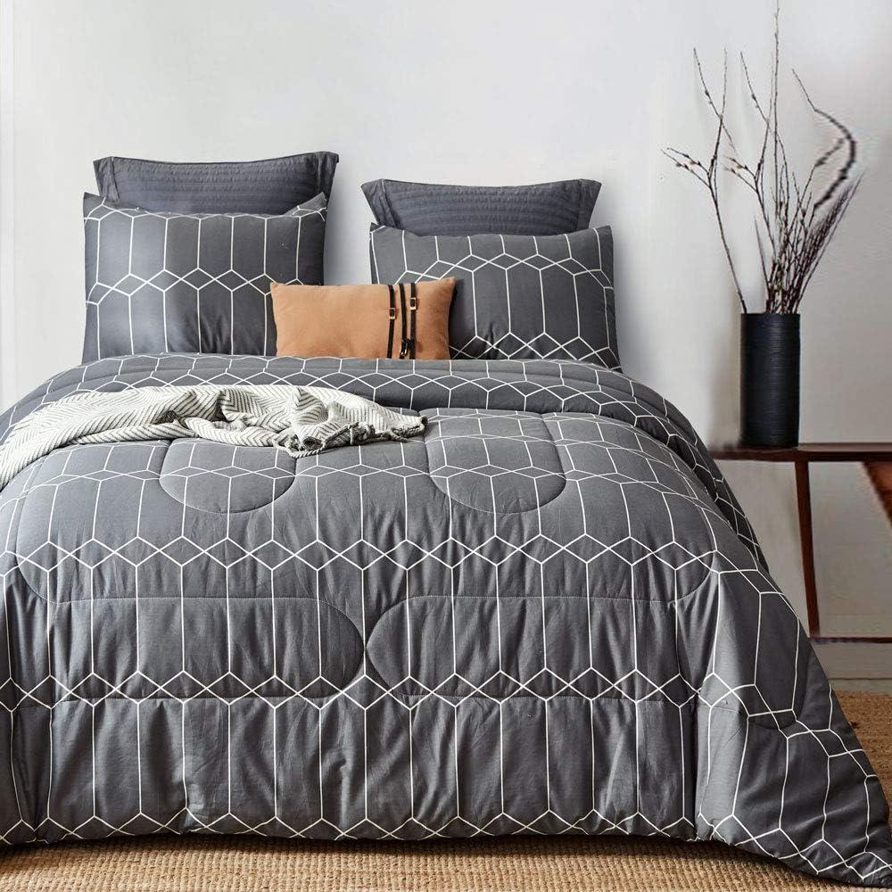ATsense Comforter Set Queen, All Season 3-Piece 100% Cotton Fabric, Soft Microfiber Filled Bedding, Lightweight Reversible Duvet Insert Charcoal Grey