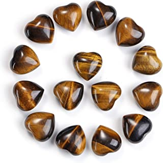 Jovivi Healing Crystal Natural Tiger Eye Love Heart Stones Bulk Pocket Worry Stone Gemstone Therapy Chakra Balancing Reiki...