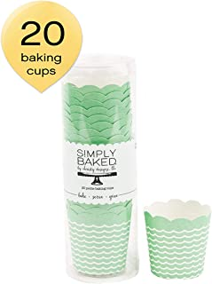 Simply Baked Petite Paper Baking Cups Mint Wave 20-Pack Disposable and Oven-safe
