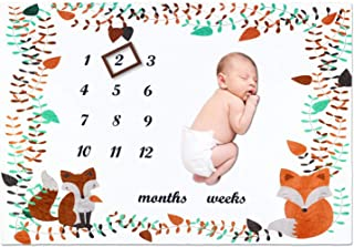 Fox Baby Milestone Blanket Boy Girl, Large 60