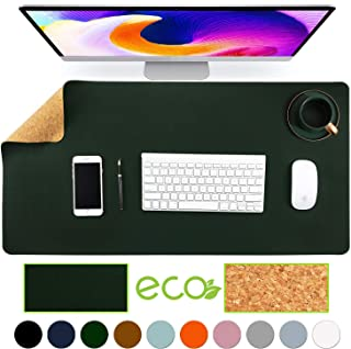 "Aothia Eco-Friendly Natural Cork & Leather Double-Sided Office Desk Mat Mouse Pad Smooth Surface Soft Easy Clean Waterproof PU Leather Desk Protector for Office/Home Gaming (Dark Green,31.5"" x 15.7"")"