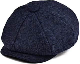 Boys Vintage Newsboy Cap Tweed Flat Beret Cabbie Hat for...