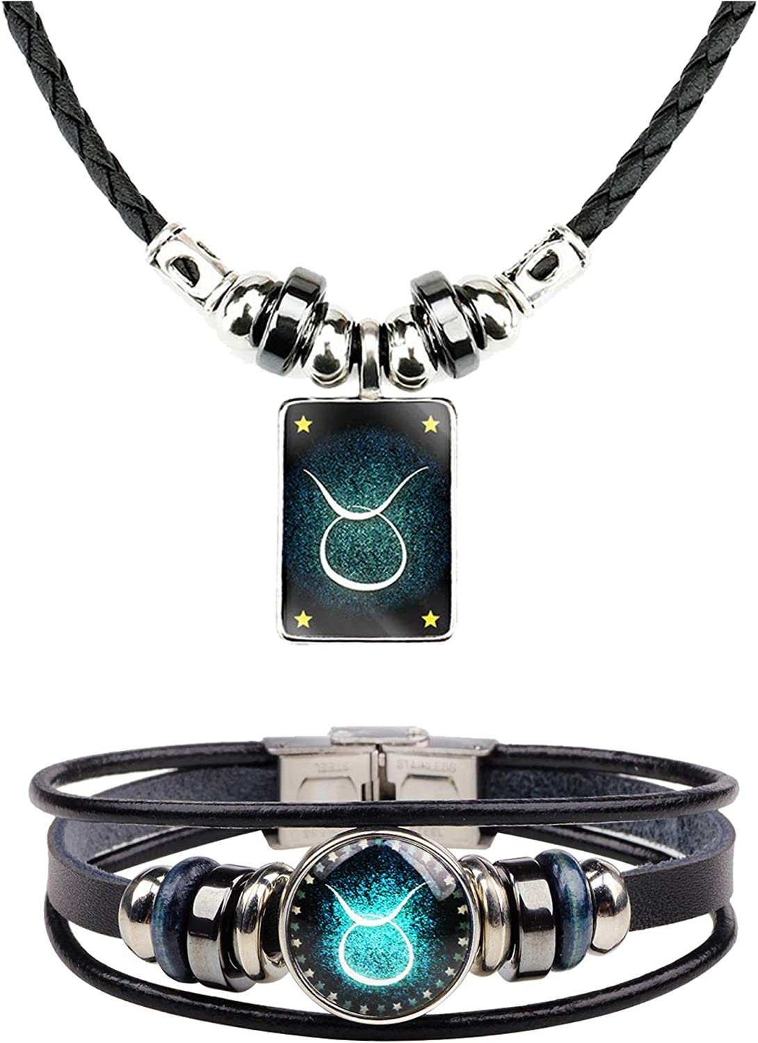 2Pcs Zodiac Necklace Online limited product Bracelet Set Sign Le Ranking integrated 1st place for Jewelry Men