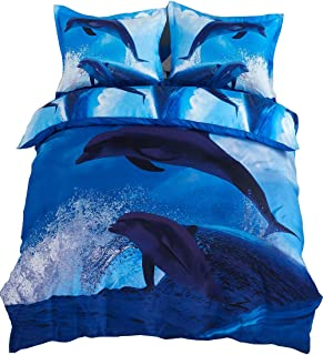 Cozyvie Dolphins Jumping out of Blue Water Print Polyester 3D Bedding Set with Duvet Cover,Flat Sheet and Pillowcases,Twin/Full/Queen Size,Blue,No Comforter (Extra Long Twin)