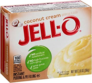 JELLO Instant Coconut Cream Pudding Mix (3.4oz Boxes, Pack of 6)