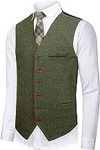 CMDC Men's Vest Slim fit Tweed Waistcoat V-Neck Herringbone Wool Plaid Suit Vest