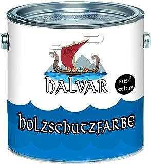 Halvar PU Holzschutzfarbe GLÄNZEND Taubenblau RAL 5014 Blau Skandinavische Wetterschutzfarbe Holz-Lack wetterbeständiger Langzeitschutz 1 L