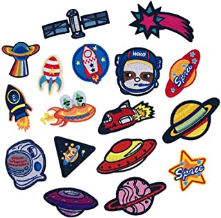 Amaoma 17 Piezas Parches Ropa Termoadhesivos Lentejuelas Astronauta Parches Termoadhesivos Parches para Ropa Parches Bordados Cosidos Patch Sticker para Ropa Camiseta Jeans Sombrero Pantalon Bolsas
