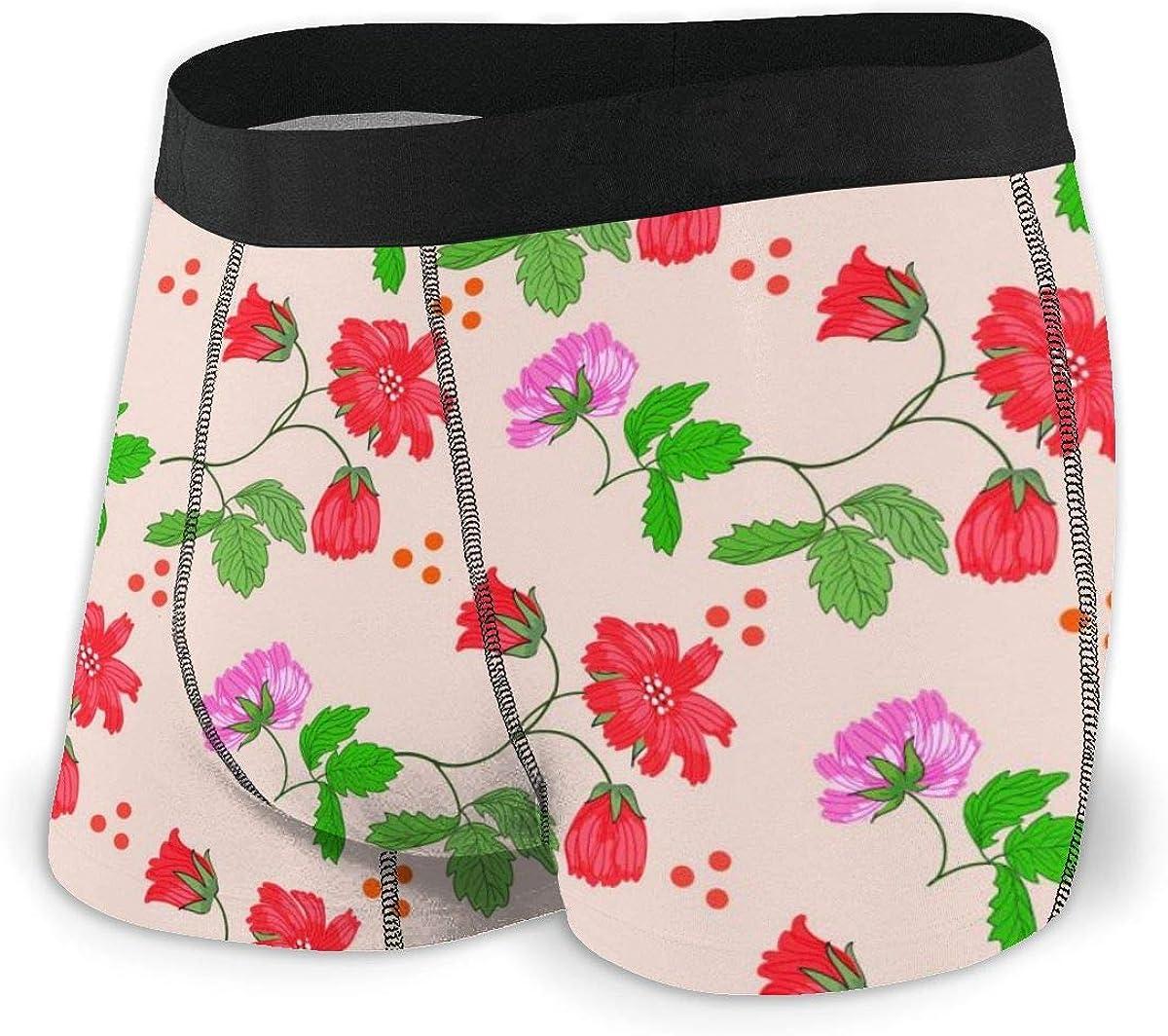 Mens Boxer Briefs Red Floral Beautiful Cute Flowers Bikini Underwear Stretch Low Rise Trunks Boys Underpants